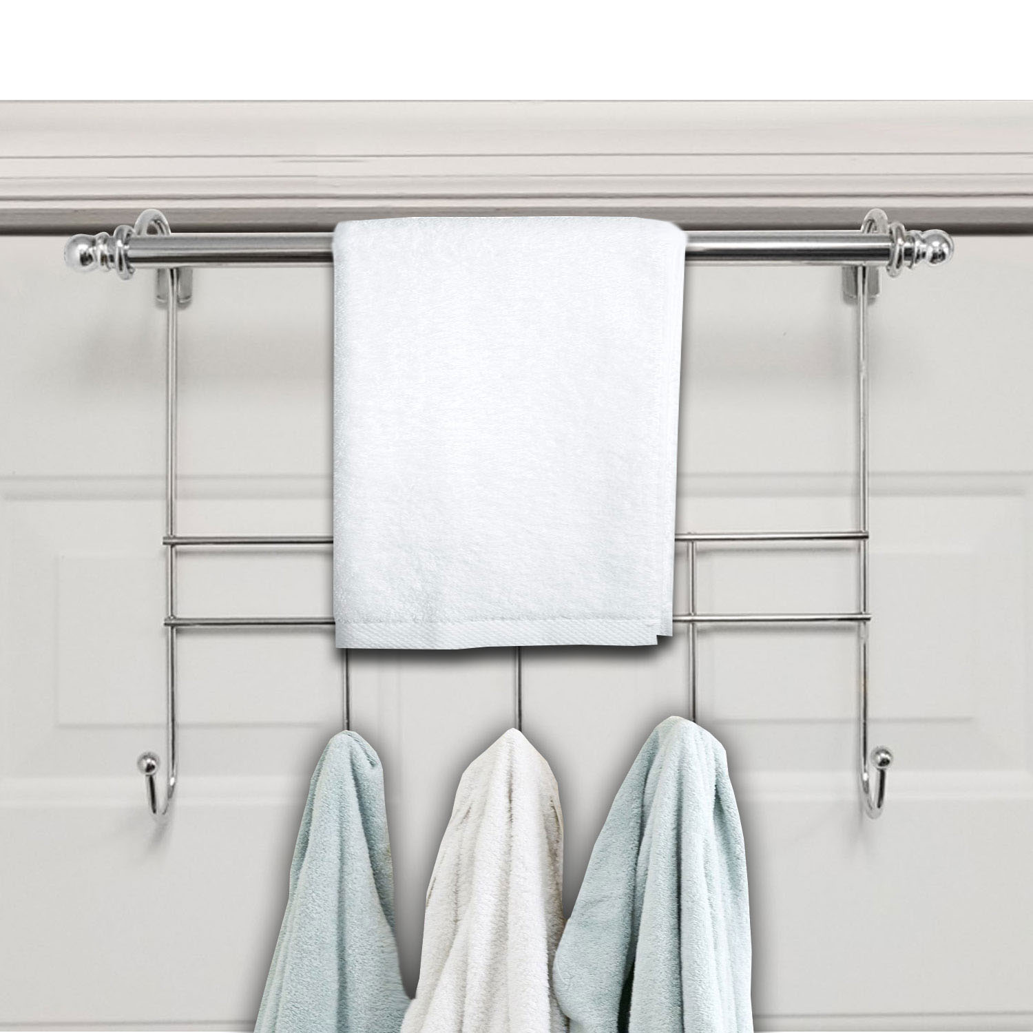 Towel Door Hanger Includes Rack Bar 5 Hooks No Embly Required 17 Inches Wide 2 Inch Over The Hook E Chrome