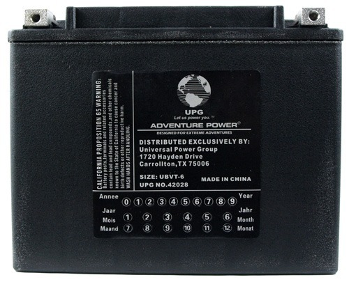 UBVT-6 -12V 22Ah 350CCA Motorcycle Battery Replaces YTX24HL