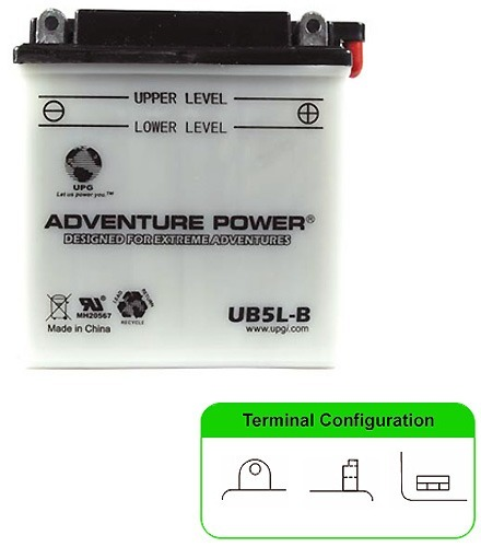 UB5L-B REPLACES YB5L-B BATTERY 12V 5AH / 50 CCA