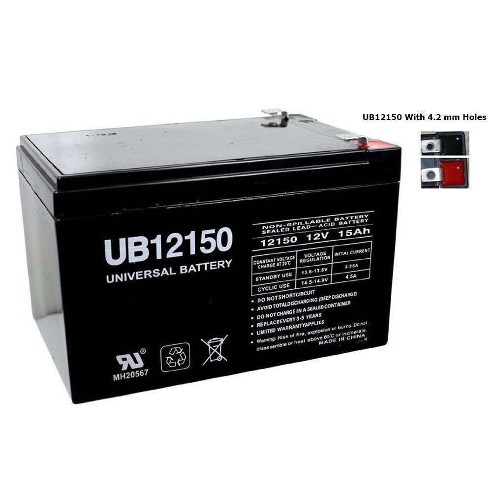 UB12150 12V 15AH Sealed Lead Acid Battery T2 W/ 4.2MM Hole