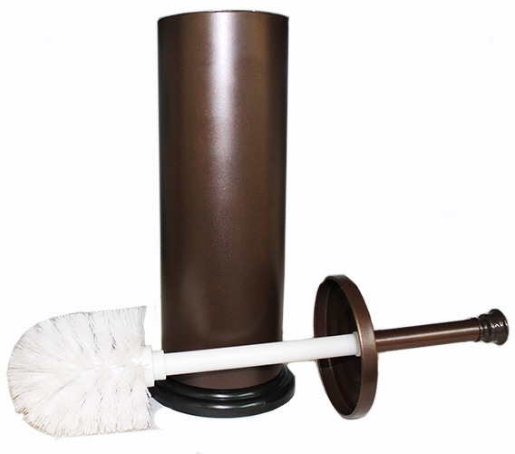 Blue Donuts Bronze Toilet Brush with Holder and cup insert to catch water and prevent water damage and leakage
