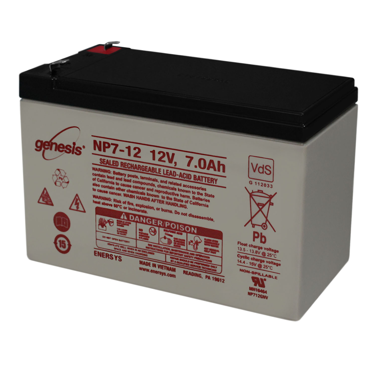 Genesis 12V 7Ah Battery Replacement for APC RBC17