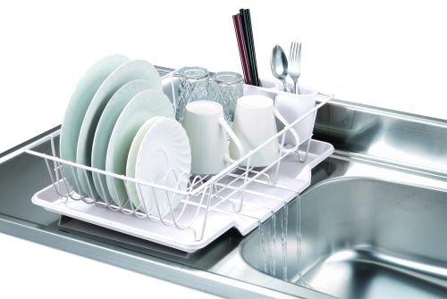 Home Basics 3-Piece Dish Drainer Set, White