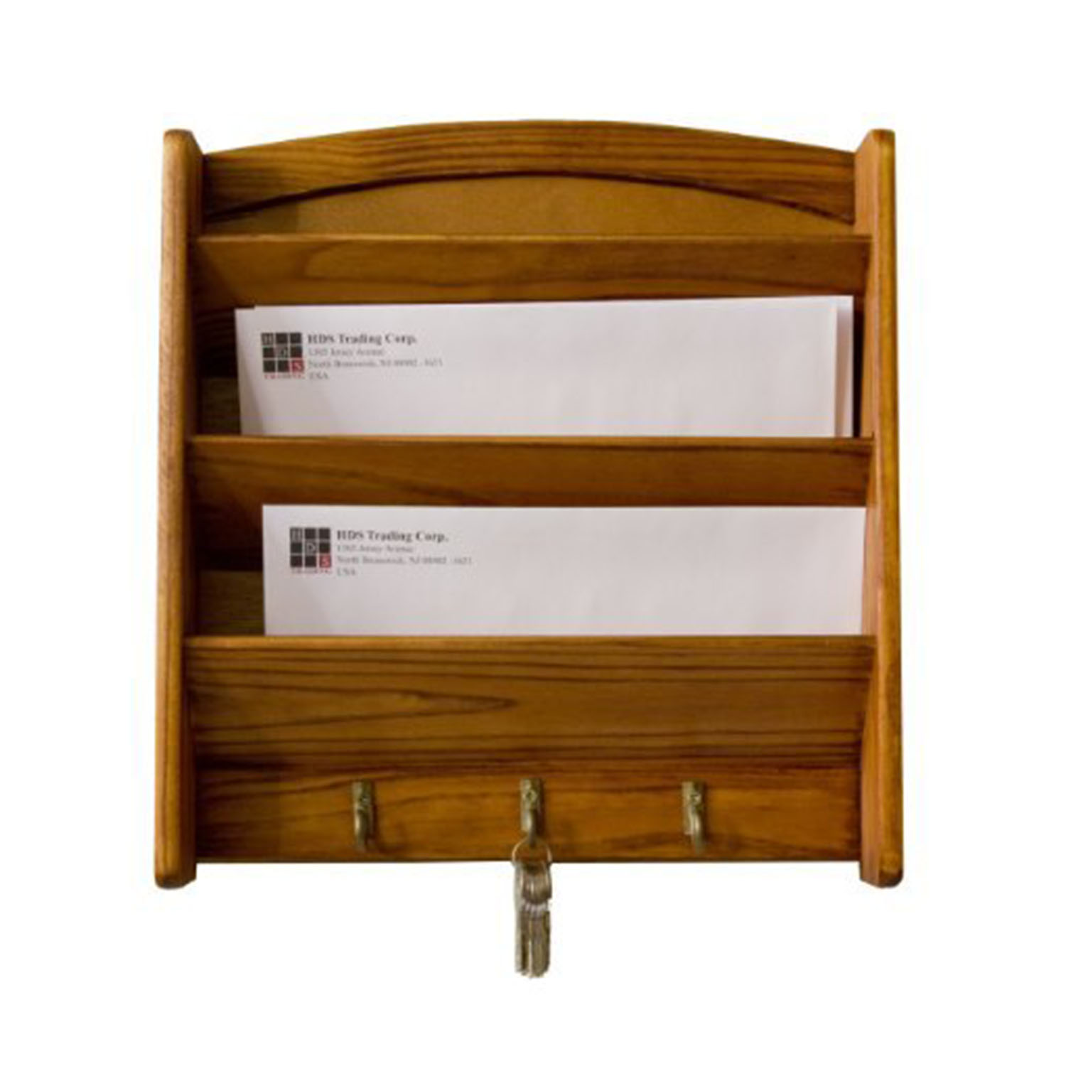 HDS Trading LR01122 Pine Letter Rack with Key Hooks