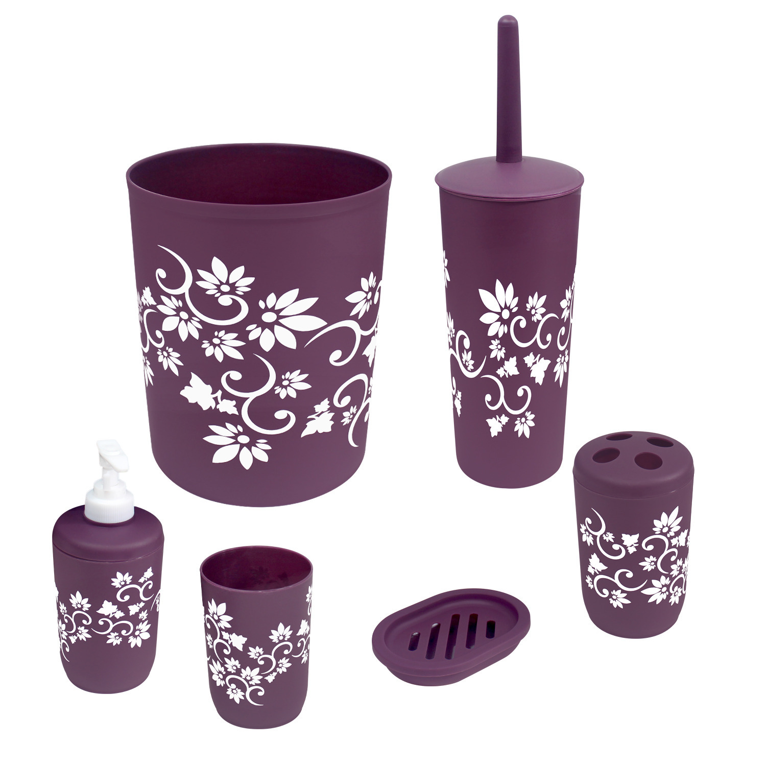 Bathroom Accessories Set Complete, Toilet Brush and Holder, Trash Can, Toothbrush Holder, Purple, 7 Pieces