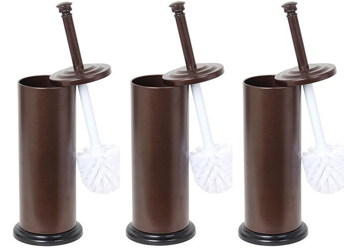 Home Basics Bronze Toilet Brush with Holder, 3 Brushes  Holders