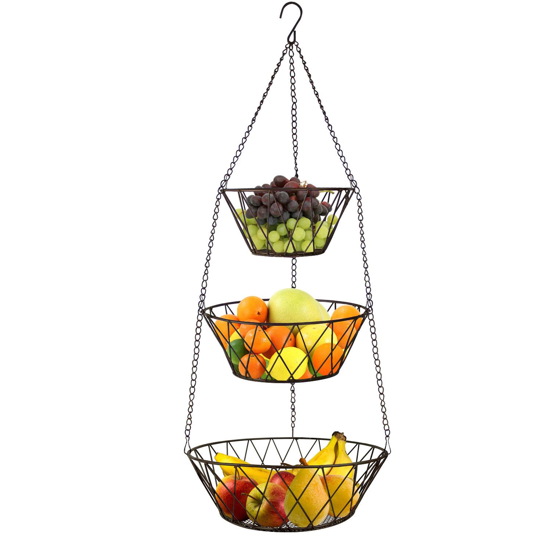 Heavy Duty - 3 Tier Hanging Kitchen Bronze Fruit Basket