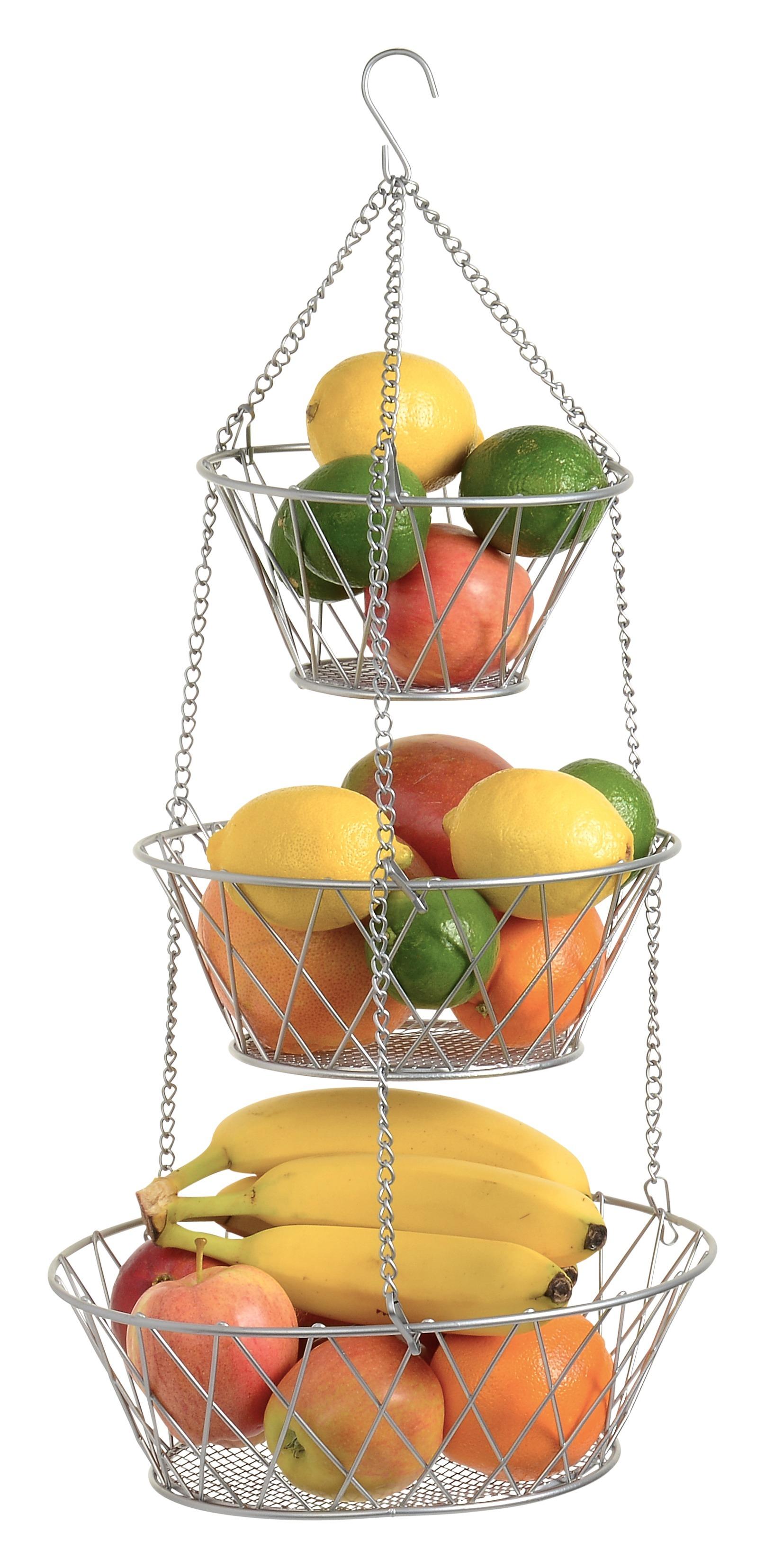 Heavy Duty - 3 Tier Hanging Kitchen Silver Fruit Basket