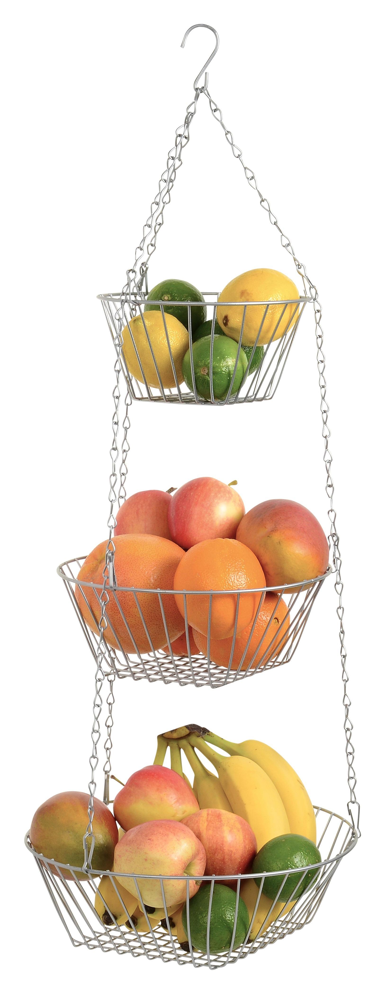 Hanging Fruit Basket 3 Tier, Round, For Kitchen, Silver, 25 Inches Long