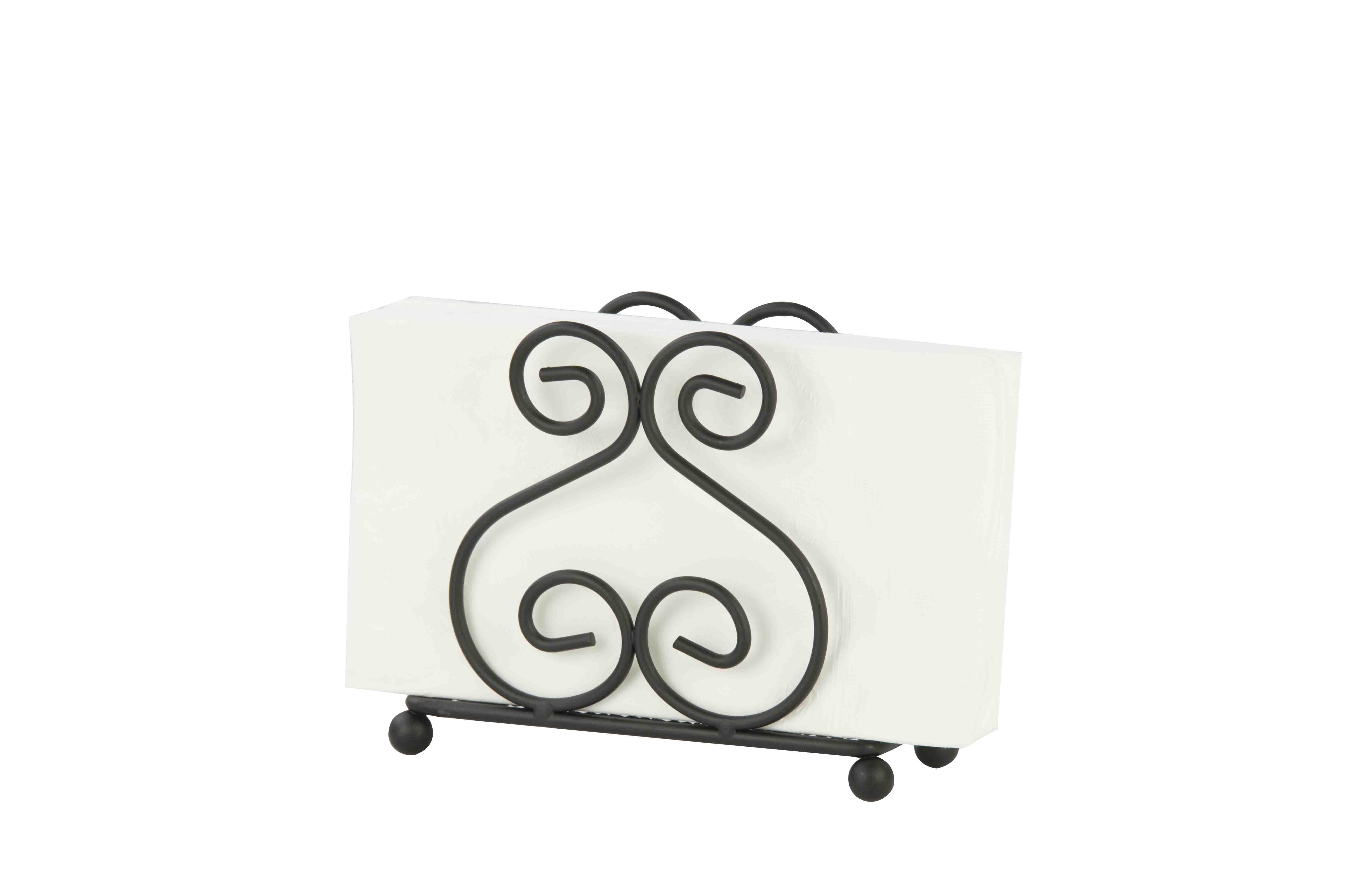 Home Basics Scroll Collection Black Napkin Holder