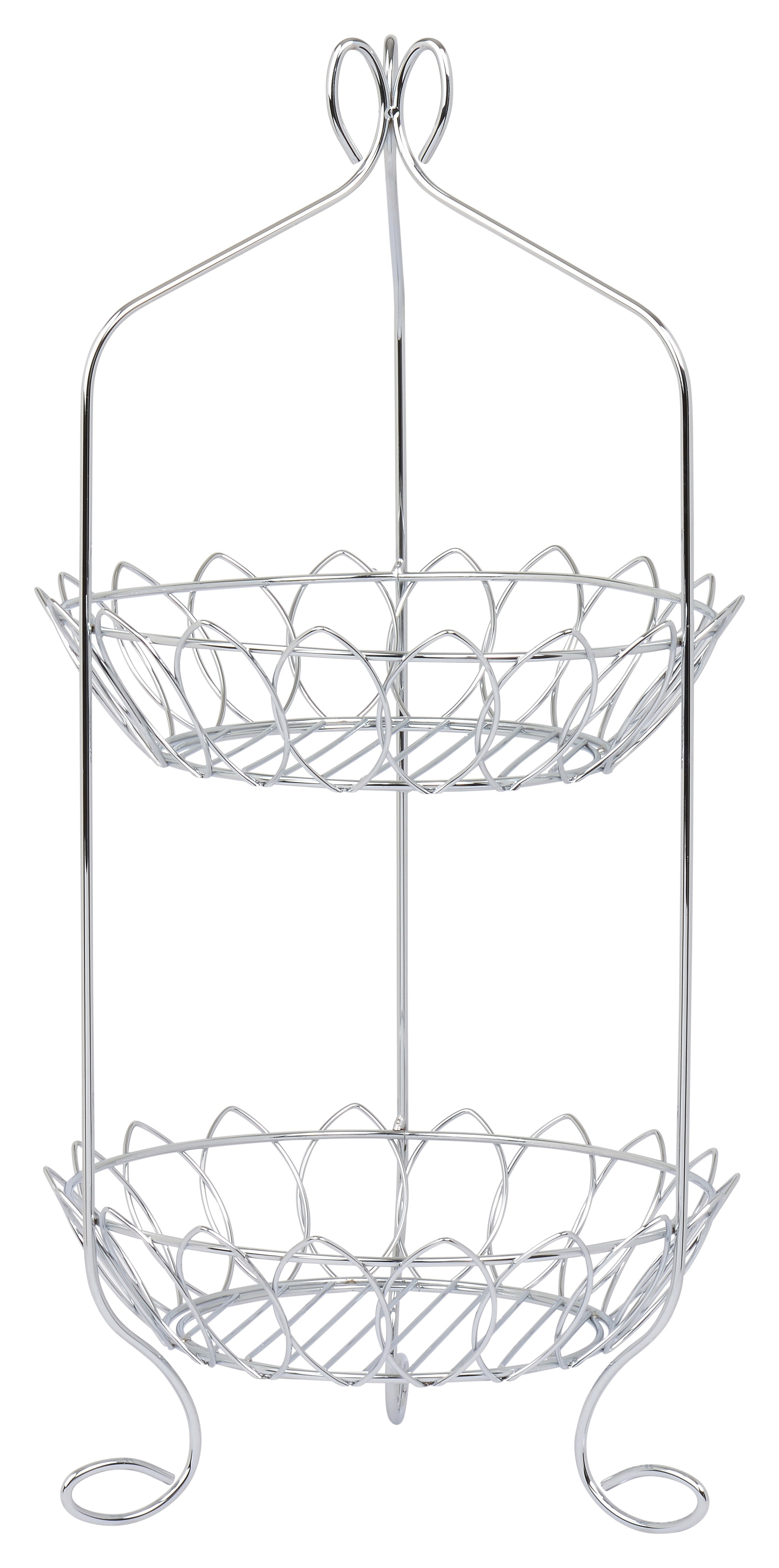 2 Tier Basket - High Quality Stainless Steel with Shiny Chrome Polish