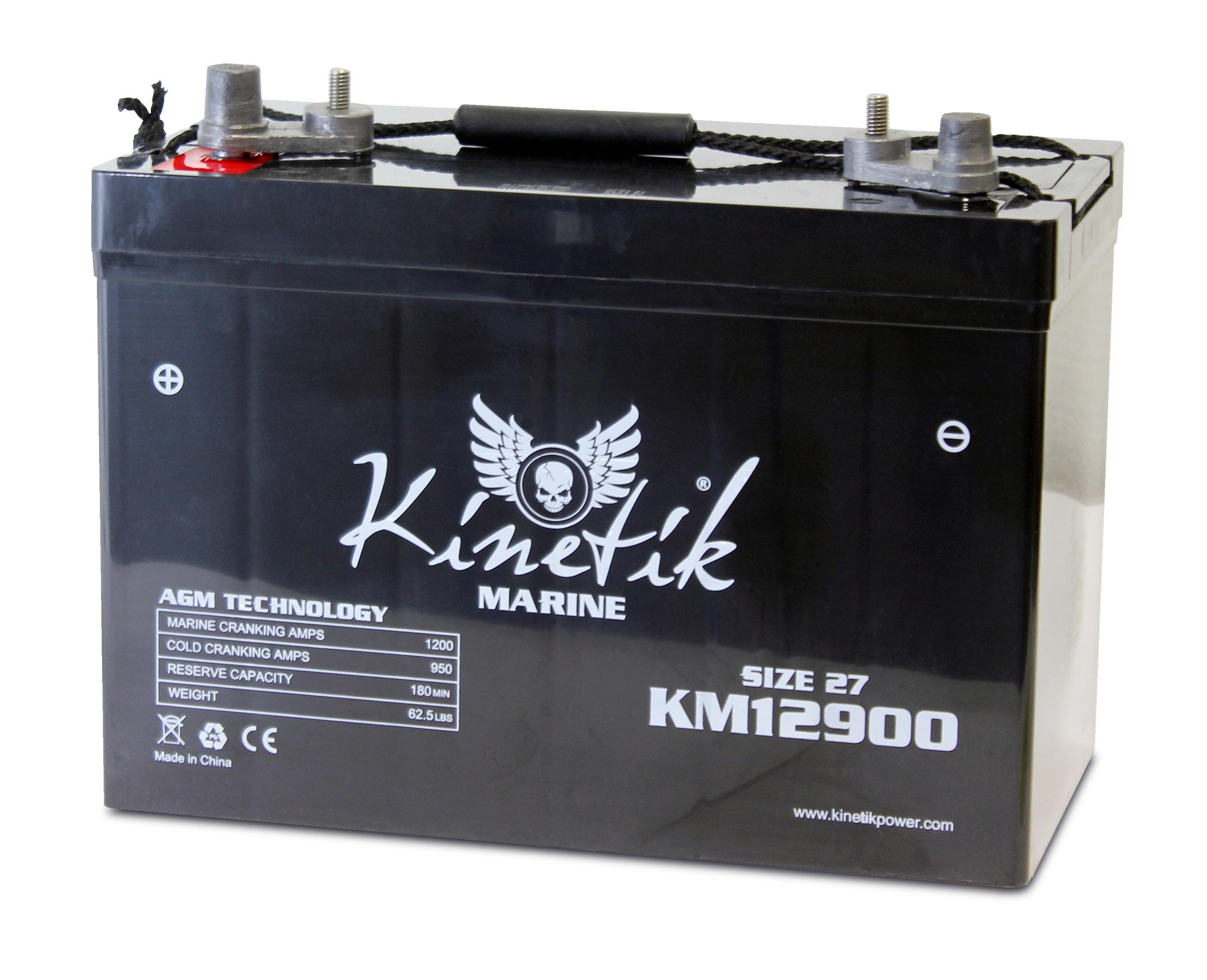 KM12900 (Group 27) 12V 90AH SLA Battery W/ Marine Post Terminal