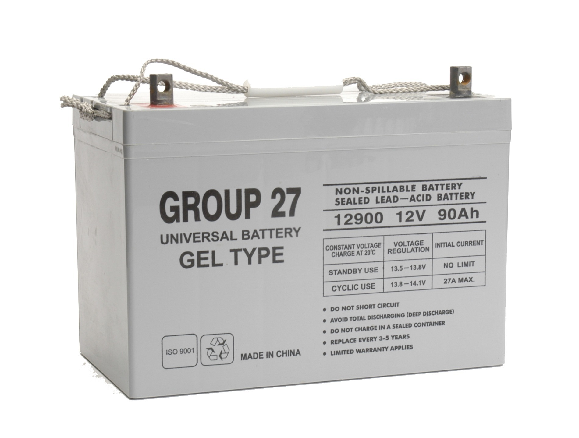 UB12900 (Group 27) 12v 90ah GEL Type Battery Replacement for Trojan T27-GEL