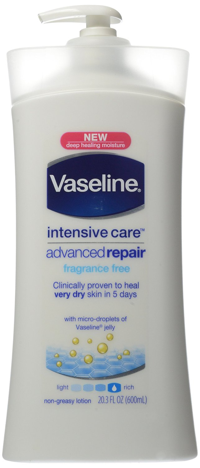 Vaseline Intensive Rescue Repairing Moisture Lotion, Fragrance Free, 20.3-Ounce Pump (Pack of 3)
