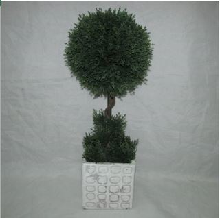 Faux Topiary In Cement Pot #120