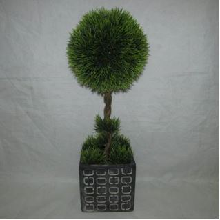 Faux Topiary In Cement Pot #121