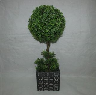 Faux Topiary In Cement Pot #122