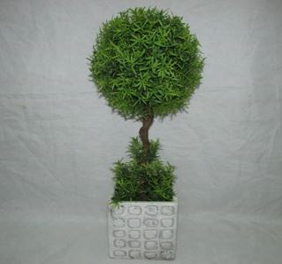 Faux Topiary In Cement Pot #124
