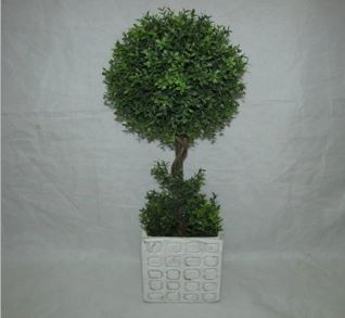 Faux Topiary In Cement Pot #125