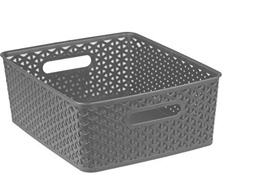 Home Basics Plastic Basket (Grey, Large)
