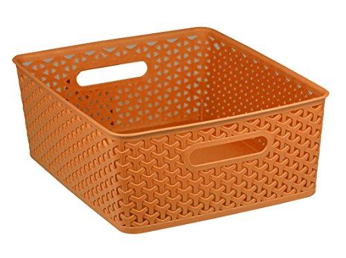Home Basics Plastic Basket (Orange, Large)