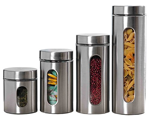 Home Basics 4PC Stainless Steel Canister Set with Windows