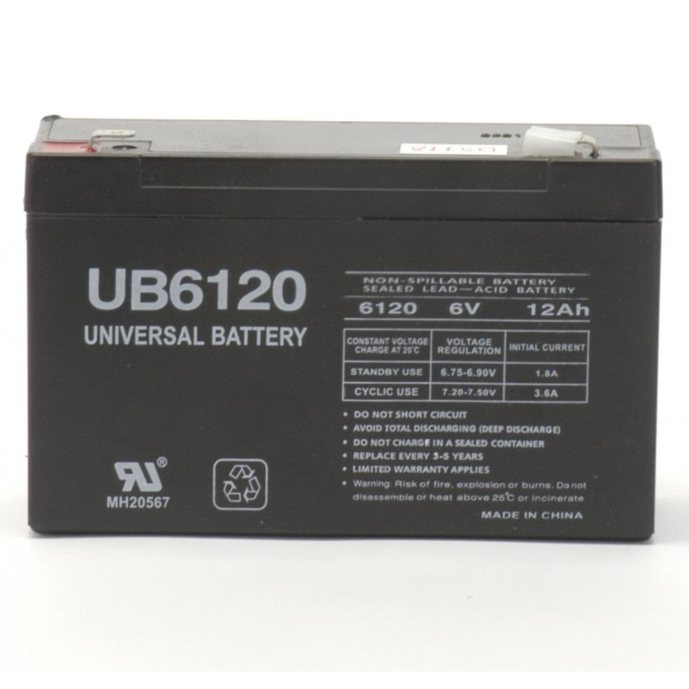 1 - Sealed Lead Acid Batteries (6V; 12Ah; .250 Tab Terminals; UB6120F2), Used in UPS backup systems, spotlights, flashlights, exit lighting  other equipment, 6V, 85995/D5778