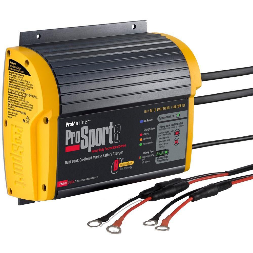 ProSport 8 Generation 3 8 Amp, 12/24 Volt, 2 Bank Battery Charger