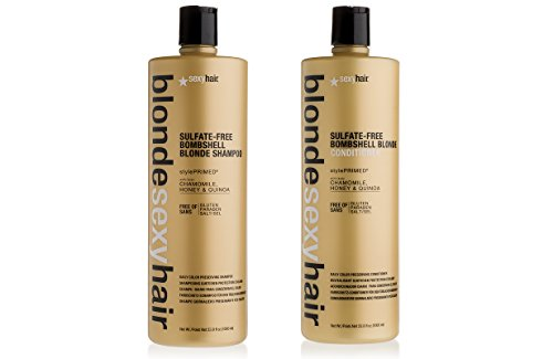 Blonde Sexy Hair – Sulfate-Free Bombshell Shampoo and Conditioner - Daily Color Preserving Strengthening Shampoo and Conditioner – 33.8 Oz Each – 2 Item Value Set - For Color Treated Hair…