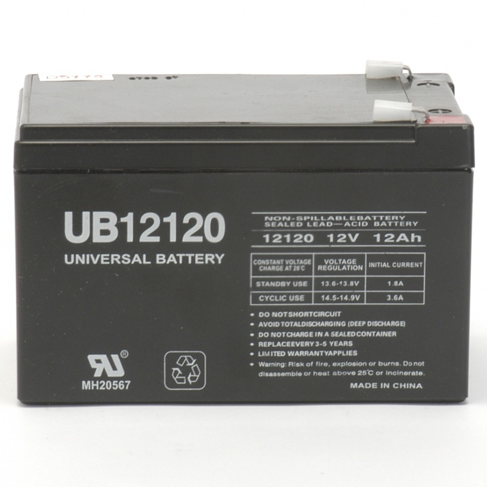 12V / 12Ah Sealed Lead Acid Battery with F2 (.250in) Terminals - UVUB12120F2