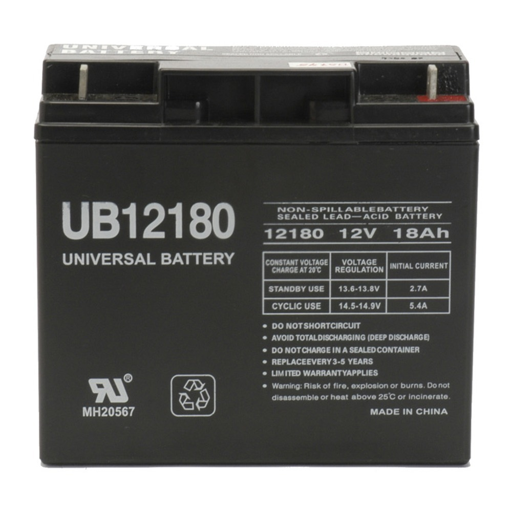 12V / 18Ah Sealed Lead Acid Battery with Nut and Bolt Terminals - UVUB12180B1