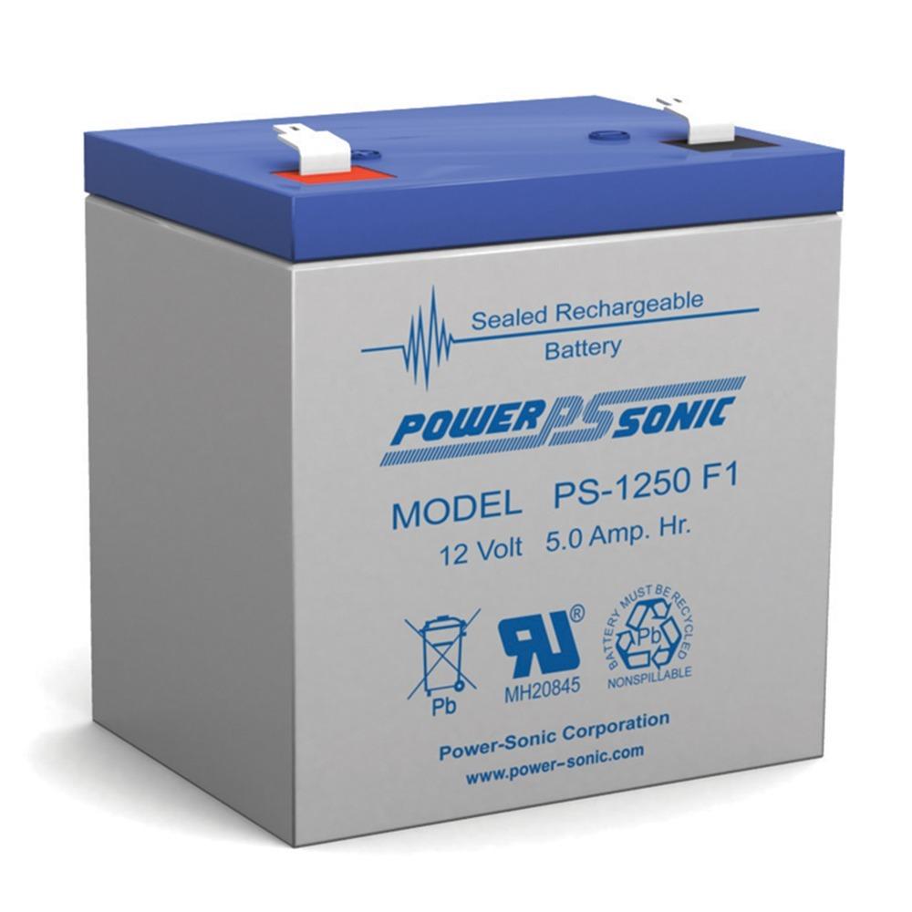 Power Sonic PS1250F1 12 Volt 5 aH Sealed Lead Acid Battery