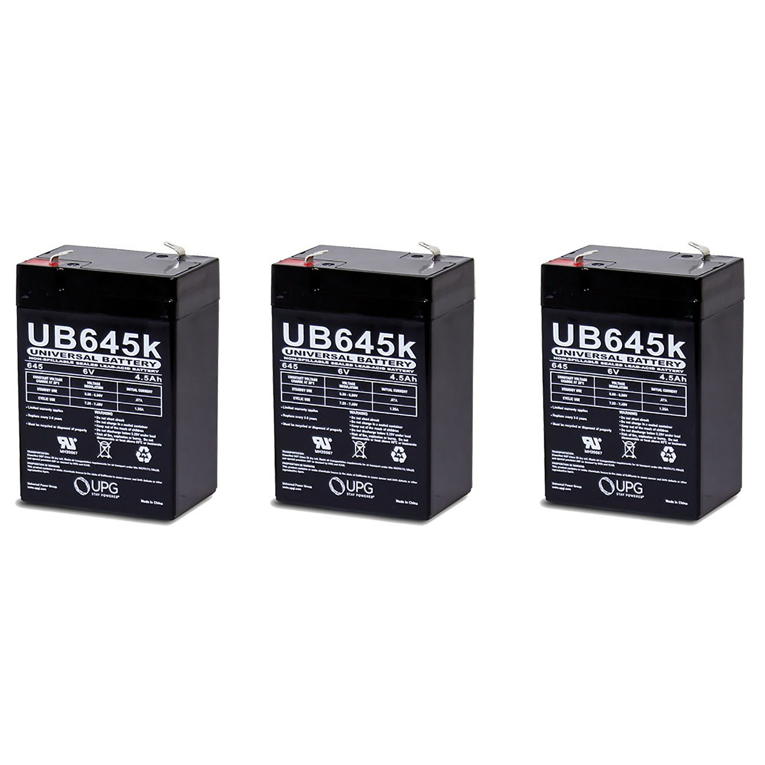 Rhino Sealed Lead Acid replacement battery 6v, 4.5Ah - 3 Pack