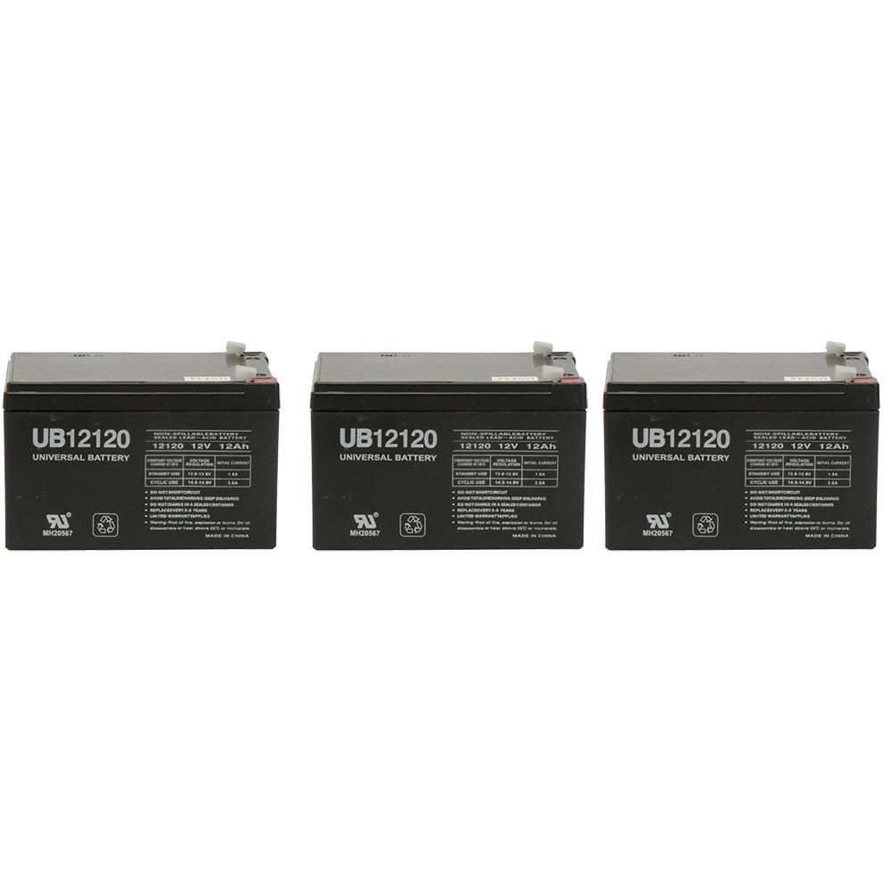 UB12120 12V 12AH Sealed Lead Acid Battery (SLA) .187 TT - 3 Pack