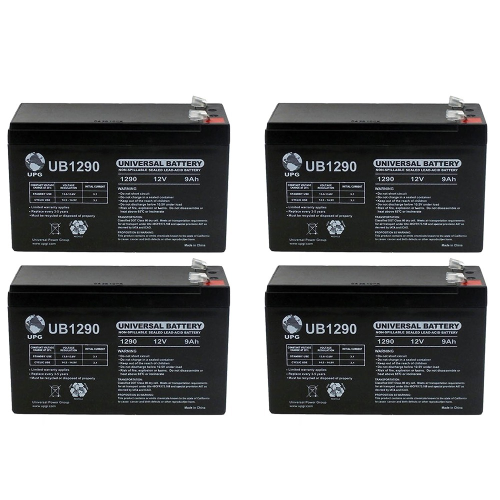 Vision CP1290A - 12.00 Volt 9.00 AmpH SLA Battery  - 4 Pack