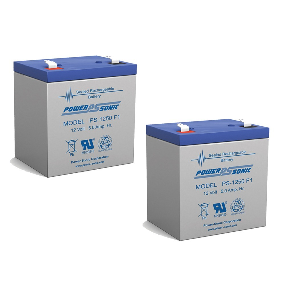 Power Sonic PS1250F1 12 Volt 5 aH Sealed Lead Acid Battery - 2 Pack