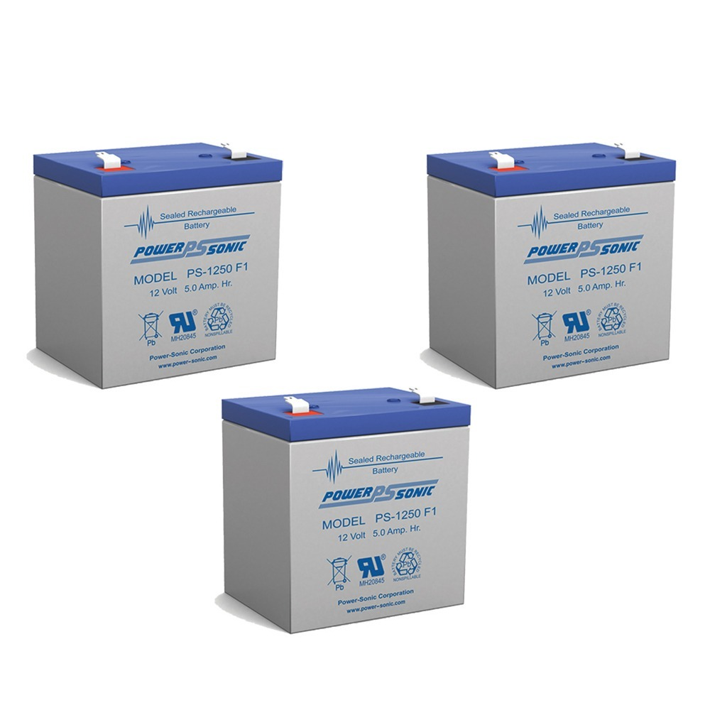 Power Sonic PS1250F1 12 Volt 5 aH Sealed Lead Acid Battery - 3 Pack