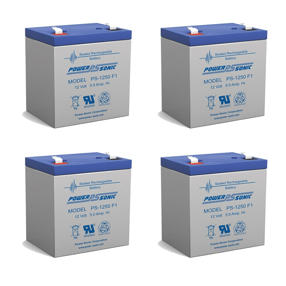 Power Sonic PS1250F1 12 Volt 5 aH Sealed Lead Acid Battery - 4 Pack