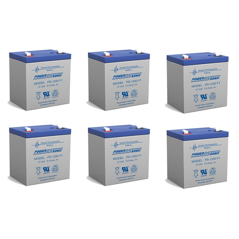 Power Sonic PS1250F1 12 Volt 5 aH Sealed Lead Acid Battery - 6 Pack