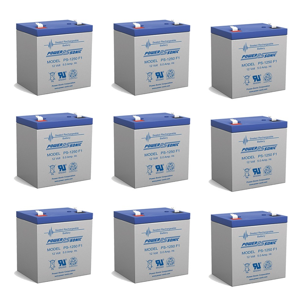 Power Sonic PS1250F1 12 Volt 5 aH Sealed Lead Acid Battery - 9 Pack