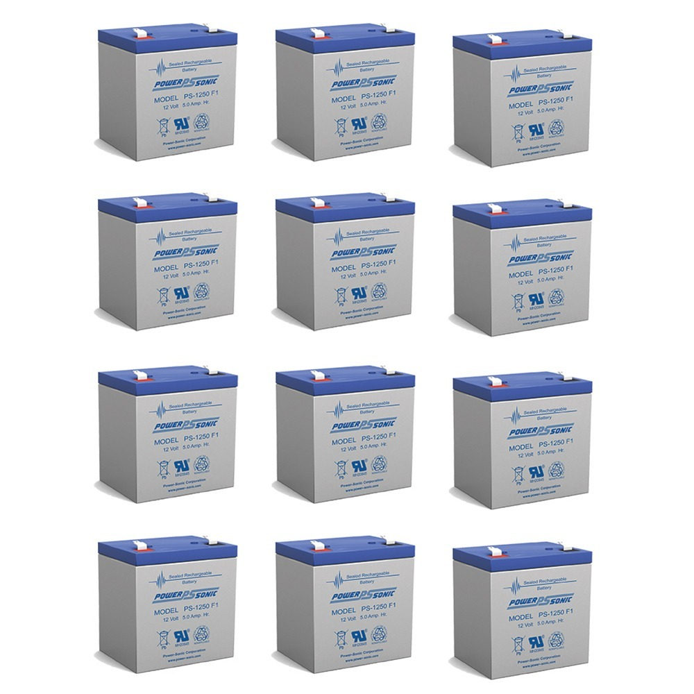 Power Sonic PS1250F1 12 Volt 5 aH Sealed Lead Acid Battery - 12 Pack