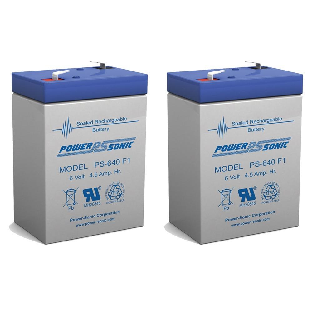 6V 4.5AH Sealed Lead Acid (SLA) Battery - T1 Terminals - for ZB-6-4.5 - 2 Pack
