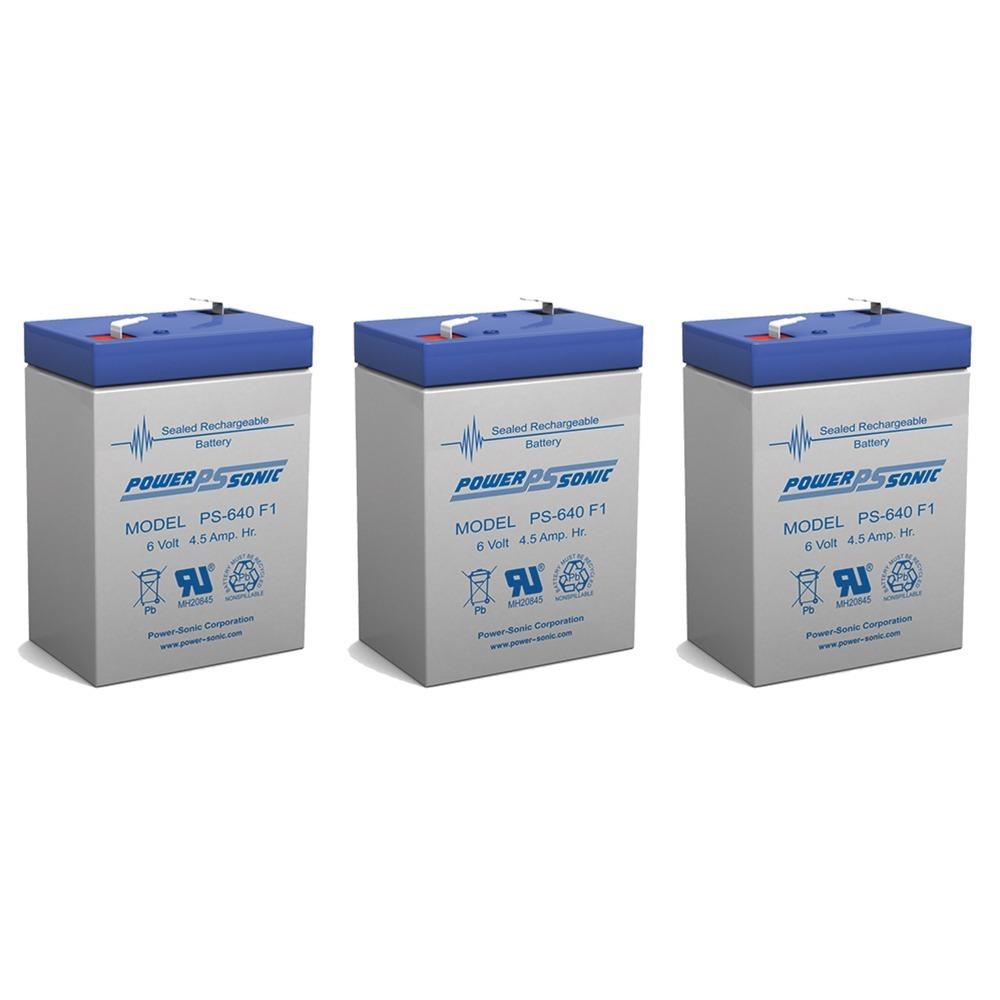 6V 4.5AH Sealed Lead Acid (SLA) Battery - T1 Terminals - for ZB-6-4.5 - 3 Pack