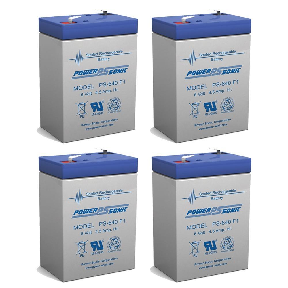 6V 4.5AH Sealed Lead Acid (SLA) Battery - T1 Terminals - for ZB-6-4.5 - 4 Pack