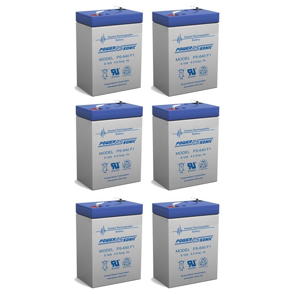 6V 4.5AH Sealed Lead Acid (SLA) Battery - T1 Terminals - for ZB-6-4.5 - 6 Pack