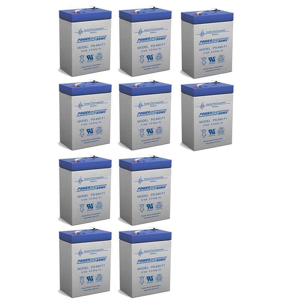 6V 4.5AH Sealed Lead Acid (SLA) Battery - T1 Terminals - for ZB-6-4.5 - 10 Pack