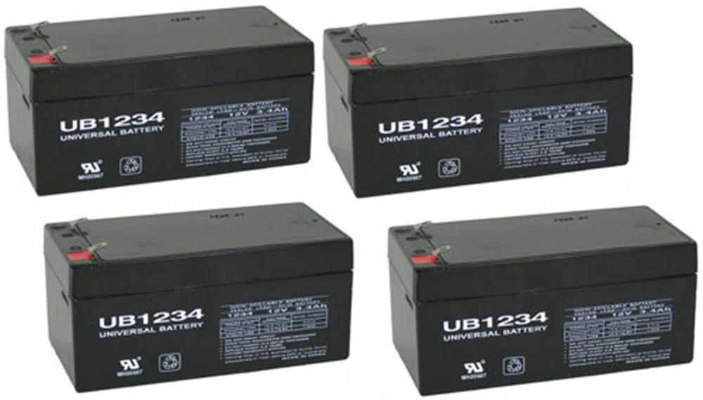 12V 3.4AH Sealed Lead Acid (SLA) Battery - T1 Terminals - 4 Pack