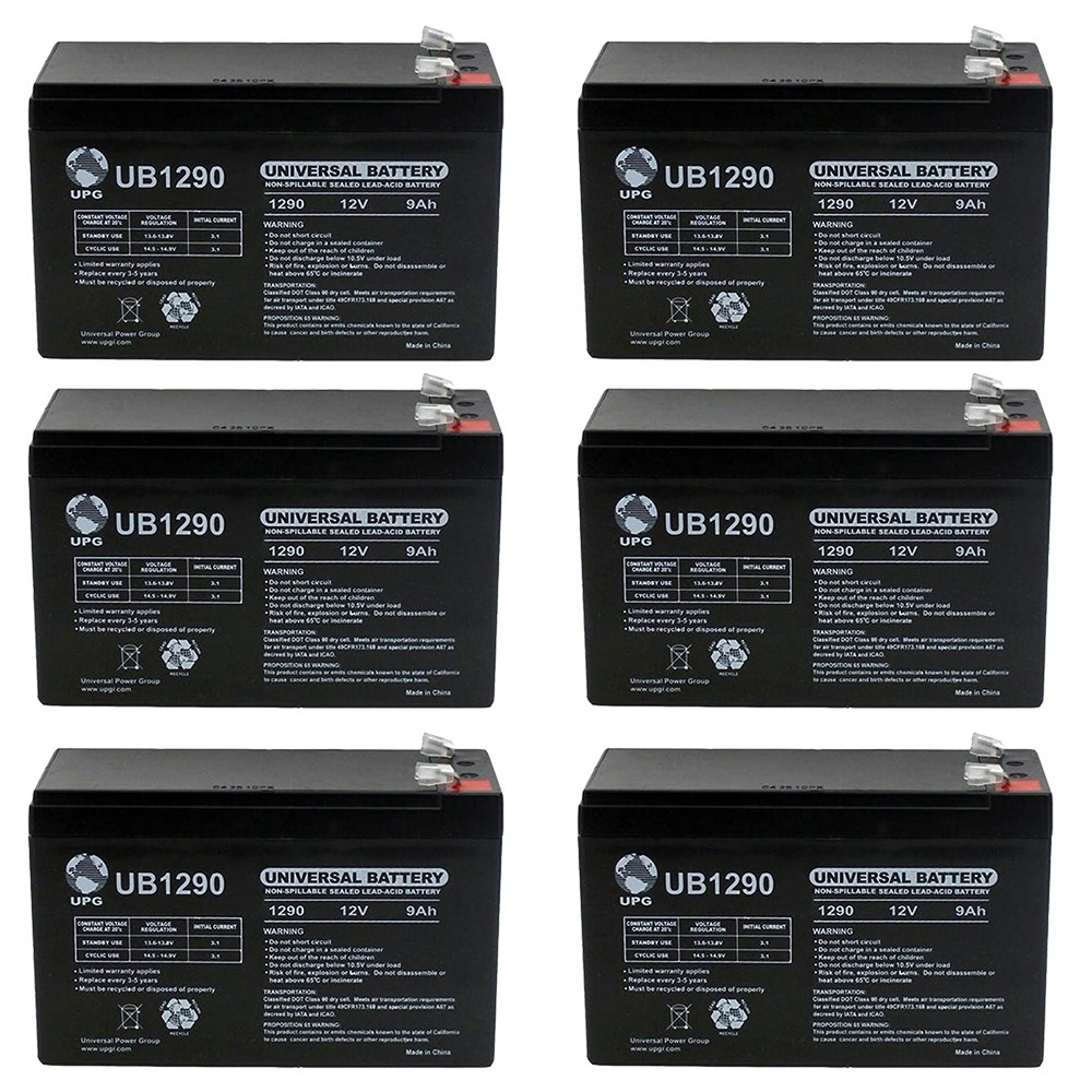 12V 9AH SLA Battery replaces hr-1234w-f2 - 6 Pack