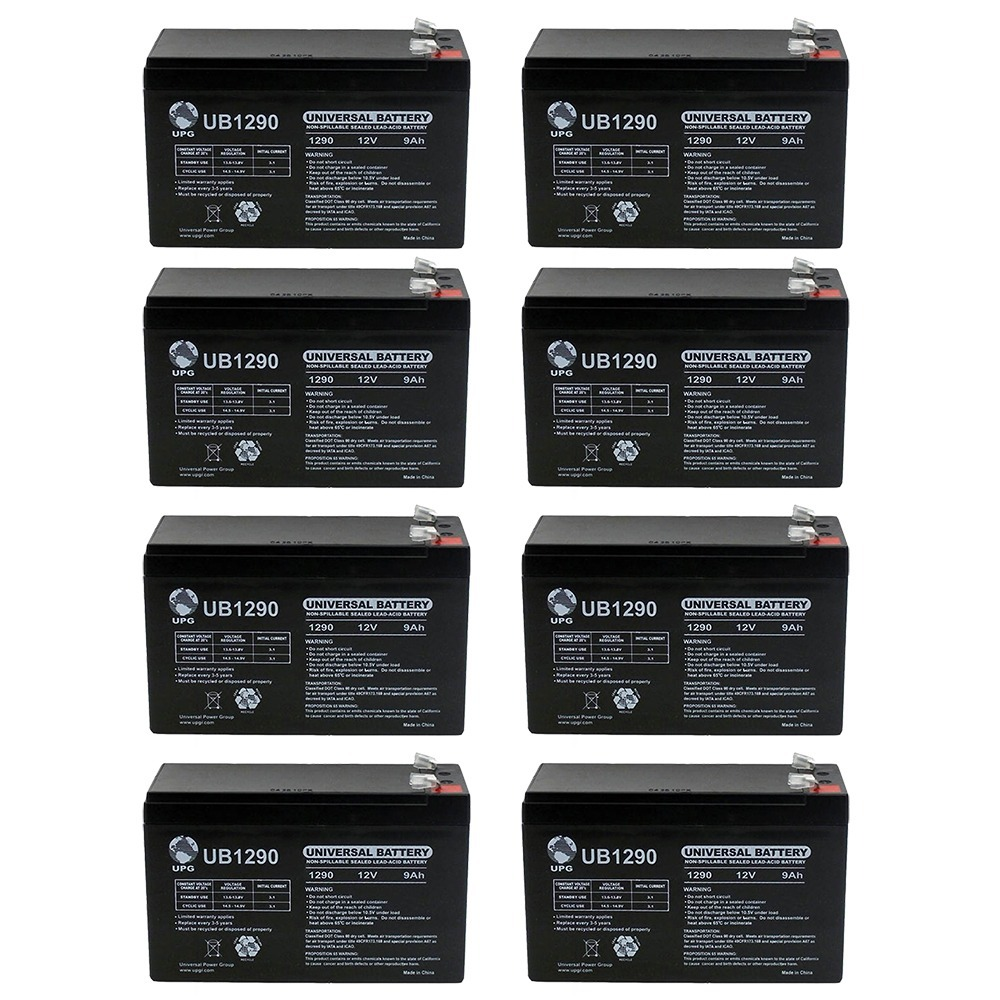 12V 9AH SLA Battery replaces hr-1234w-f2 - 8 Pack