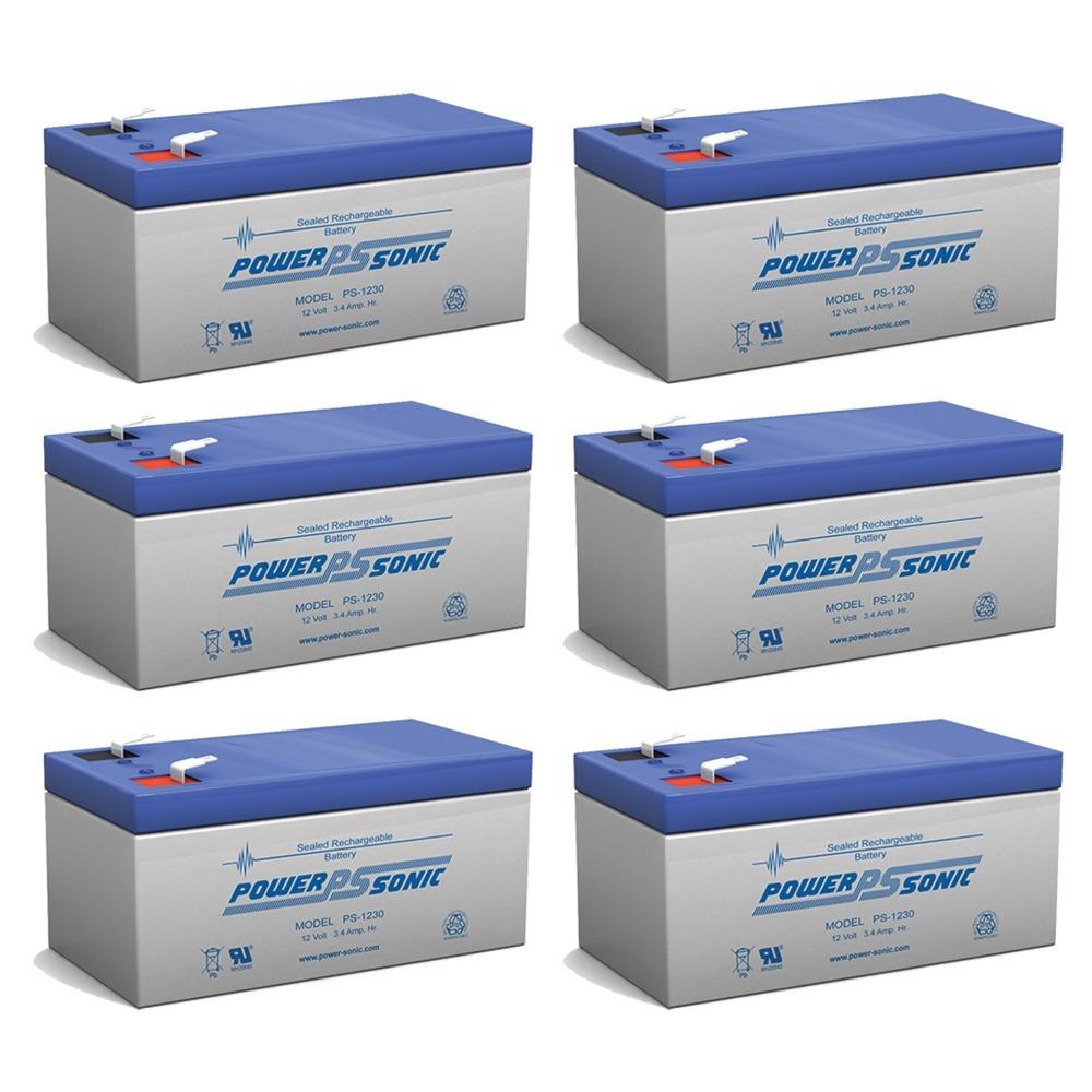 12V 3.4AH Sealed Lead Acid (SLA) Battery - T1 Terminals - for ZB-12-3.5 - 6 Pack
